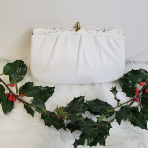 Vtg ETRA White Leather Clutch Unicorn Horn Clasp